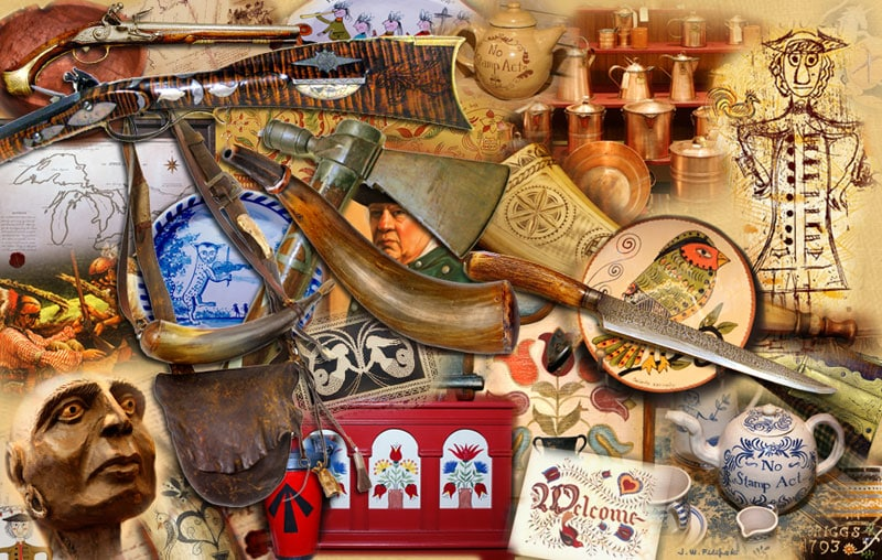 a variety of crafts from the 1700s - from flintlocks to pottery